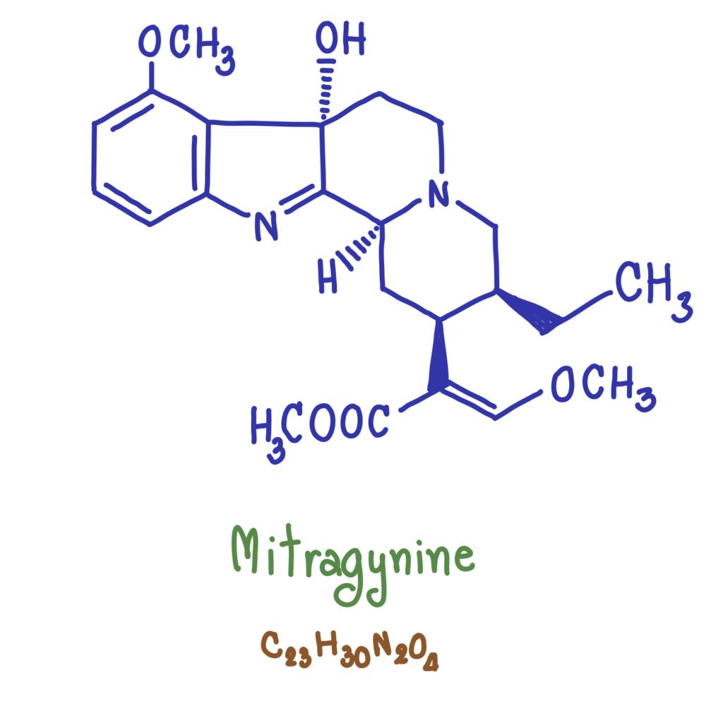 hand drawn diagram of mitragynine molecule