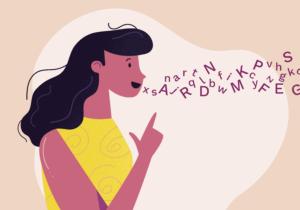 woman pronouncing words illustration